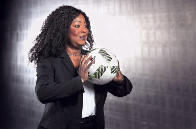 ZURICH, SWITZERLAND - OCTOBER 14:  FIFA Secretary General Fatma Samoura poses during a Portrait session at the FIFA headquaters on October 14, 2016 in Zurich, Switzerland.  (Photo by Alexander Hassenstein - FIFA/FIFA via Getty Images)