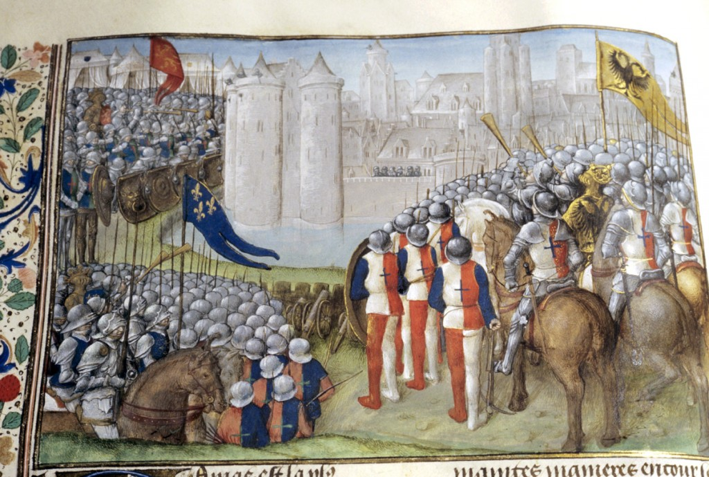 Cruzados sitiando Damasco Crusaders besiege Damascus in 12th c. 15c book France Copyright: AAAC Ltd