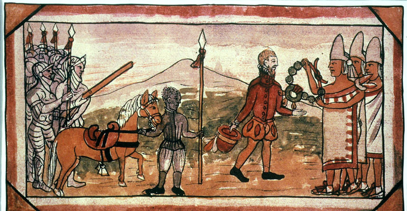 HERNANDO CORTES being greeted by a representative of Montezuma II. Illustration from a manuscript by Friar Diego Duran.